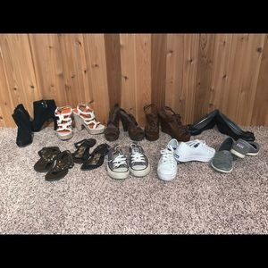 Women's size 6 shoe lot heels wedges platform flat
